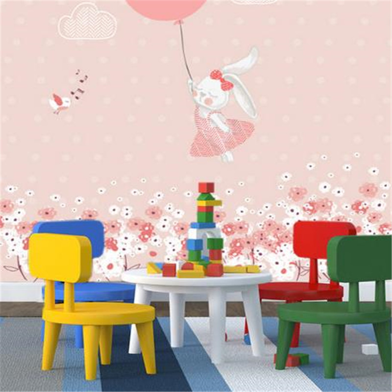 3D Custom Wallpapers Cartoon Pattern Wall Papers Kid Murals for Children Room Home Decor Rabbit Cherry Flowers Picture Wallpaper sweet cartoon vehicle and letters pattern diy wall sticker for children s room