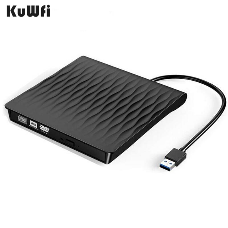 KuWFi External CD DVD Burner External CD DVD Drive USB3.0 Type C Port Slim Portable High Speed Data Transfer USB Optical Drives
