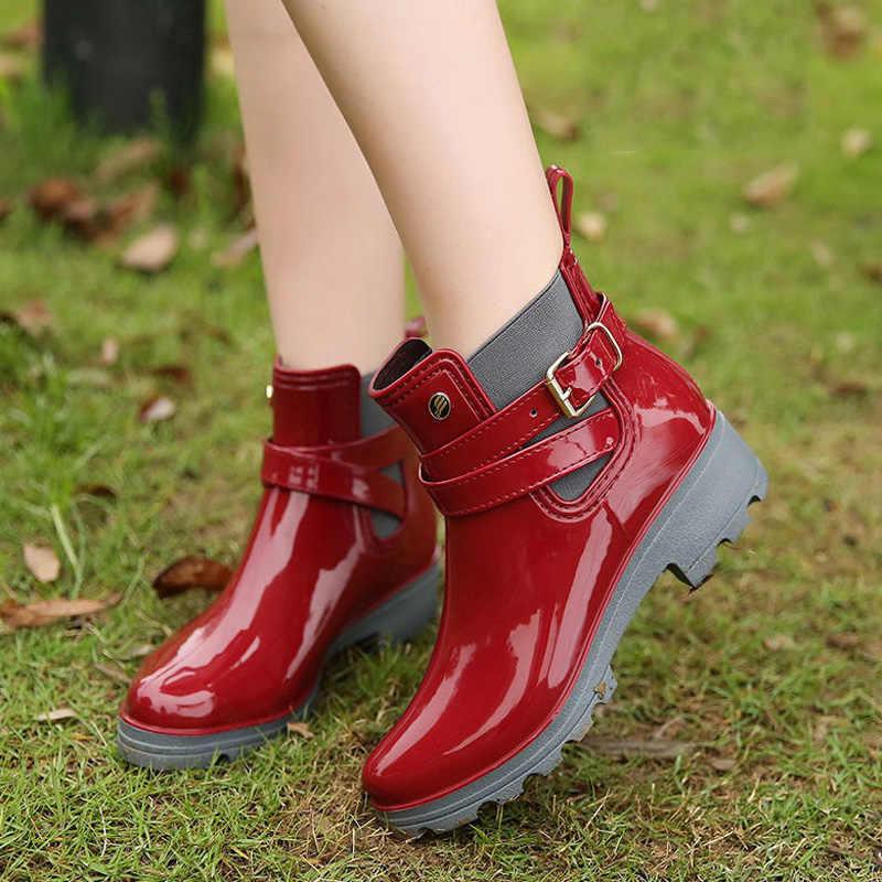 2019 Mode Regen Laarzen Vrouw Hot Chelsea Laarzen Vrouwen Rubber Laars Enkellaars Vrouwelijke Herfst Dames Schoenen Zwart Met Vrouwen schoenen