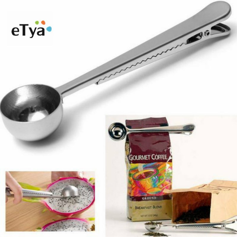eTya 1PC Durable Stainless Steel Spoon With Bag Clip Ground Tea Coffee Scoop With Portable Bag Seal Clip powder Measuring tools