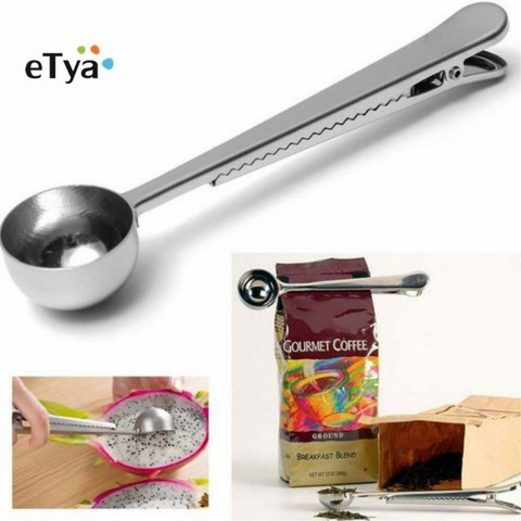 eTya 1PC Durable Stainless Steel Spoon With Bag Clip Ground Tea Coffee Scoop With Portable Bag Seal Clip powder Measuring tools Pakistan