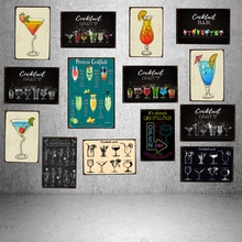 Cocktail Tin Signs Drink Metal Plate Wall Pub Restaurant Shop Party  Home Art Decor Vintage Iron Poster Cuadros DU-1221