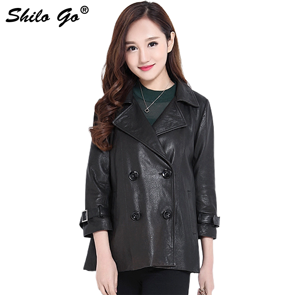 Fashion Women High Quality Sheep Skin Luxury Lapel Double Breasted Metal Belt Sleeves Casual Loose Genuine Leather Short Coat