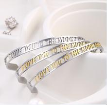 I LOVE YOU TO THE MOON Bracelet Hollow Letters Women Open Cuff Bangle Stainless Steel Jewelry Gifts Gold Metal