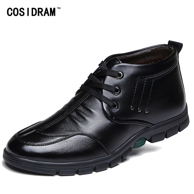 New Winter Men Boots PU Leather Rubber Sole Ankle Boots With Fur Warm Plush Casual Martin Work Shoes Male Botas Hombre BRM-831
