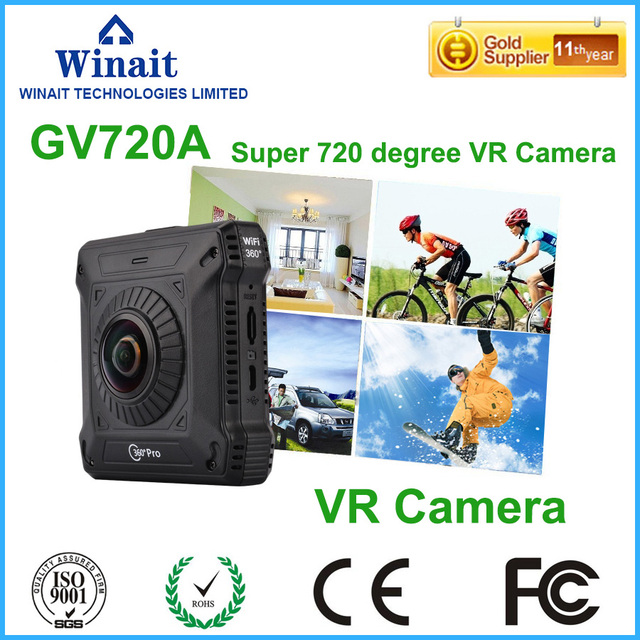 220 Degrees Double Wide Angle Lens 360D Camera WIFI 1280*1024*2 28fps Video Format H264 TS Format 360 Camera VR Camcorder