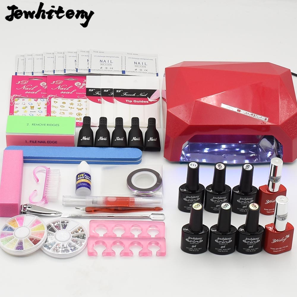 UV LED Lamp nail art Set manicure tools kits 6 color 10ml soak off UV gel nail polish varnish set With Nail dryer top coat cnhids in 24w professional 9c uv led lamp of resurrection nail tools and portable package five 10 ml soaked gel nail polish