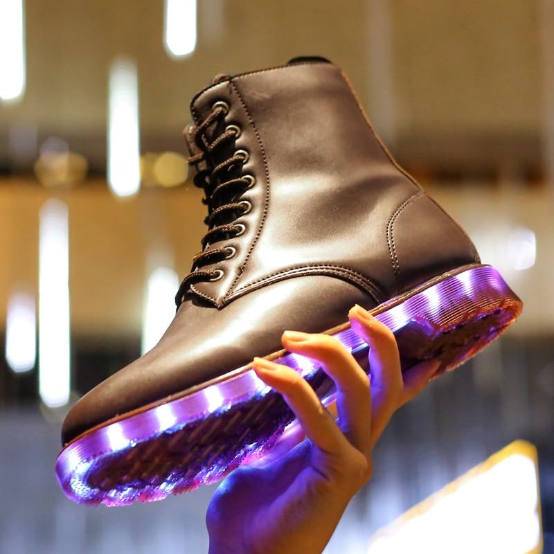 2017 marque hiver enfants chaussures fille et garçon bottes en cuir imperméable enfants neige bottes en peluche USB charge lumière LED up baskets