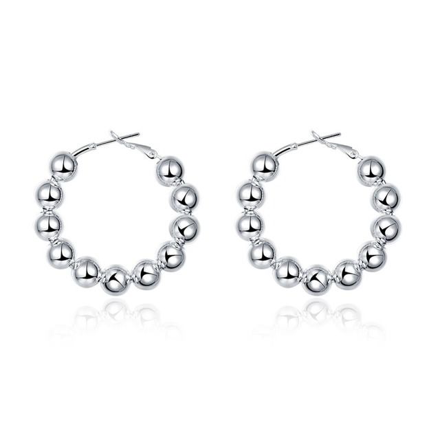 d6342cd6806b Trendy Fashion 925 Pendientes de Aro de Plata Redondo 8 MM Perlas Ruegue  Bolas de aros