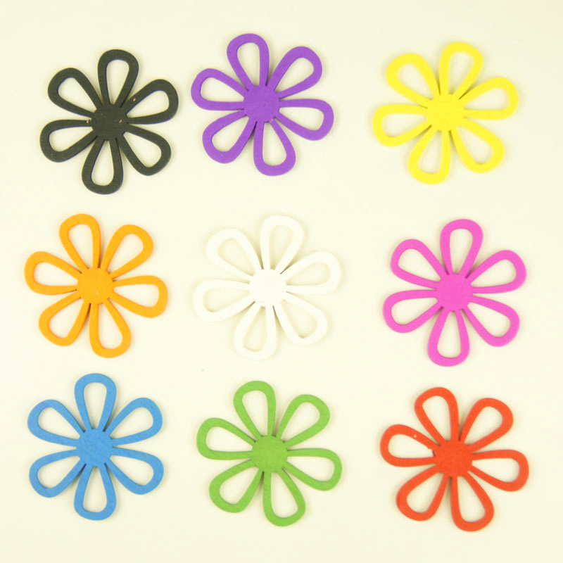 45mm wooden colorfull flowers for wedding decorations DIY crafts accessories scrapbooking wall stickers Home decor wall decor