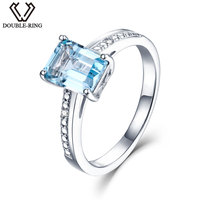 DOUBLE R Real Diamond Engagement Ring Female 1 9ct Natural Blue Topaz 925 Sterling Silver Rings