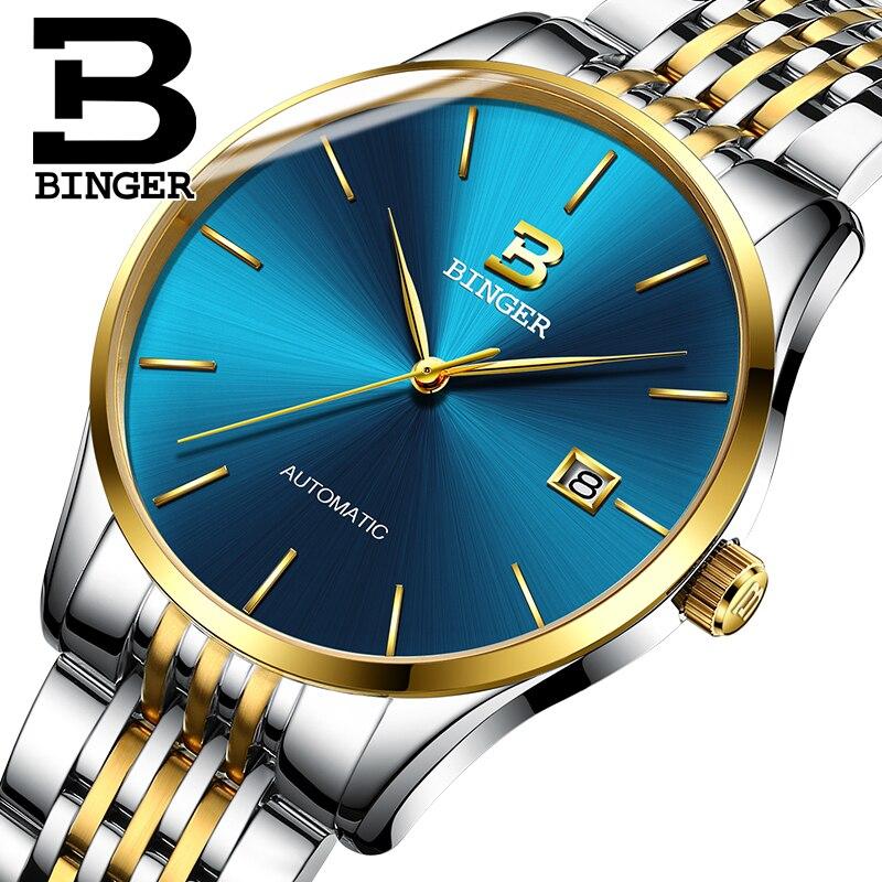 Szwajcarski zegarek Binger mężczyźni luksusowej marki zegarki męskie automatyczne mechaniczne męskie zegarki Sapphire relogio ruch japonii B5075M7 w Zegarki mechaniczne od Zegarki na  Grupa 1