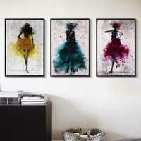 Elegante Poesie Tanzen Rock Mädchen Aquarell Abstrakten Leinwand Malerei Kunstdruck Poster Bild Dekoration Moderne Dekoration