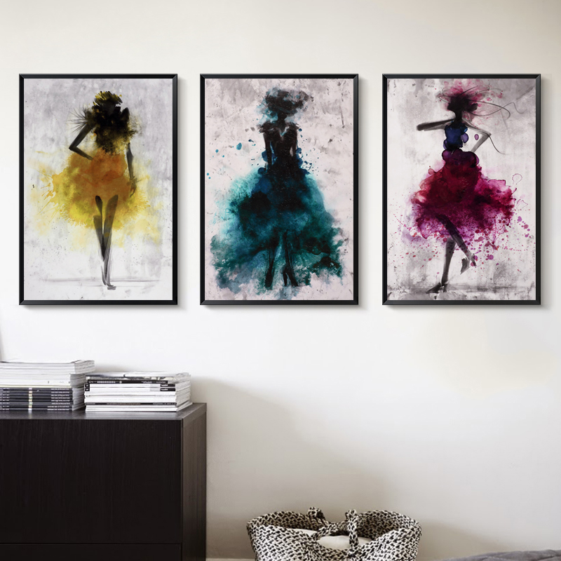 Elegant Poetry Dancing Skirt Girl Akvarell Abstrakt Kanfastryck Konsttryck Poster Picture Decoration Modern Home Decoration