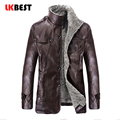 LKBEST 2017 New mens leather Jacket fashion PU winter men leather coat  wool liner casual motorcycle leather jacket (PY34)