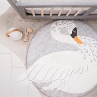 Mayitr Swan Round Kids Playing Mat Soft Cotton Baby Crawling Carpet Rug