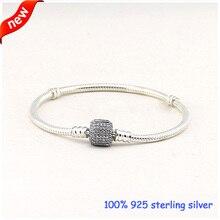 Compatible con la joyería europea ronda pulseras de plata con Clear Cubic Zirconia 100% 925 joyería de plata DIY 08B017