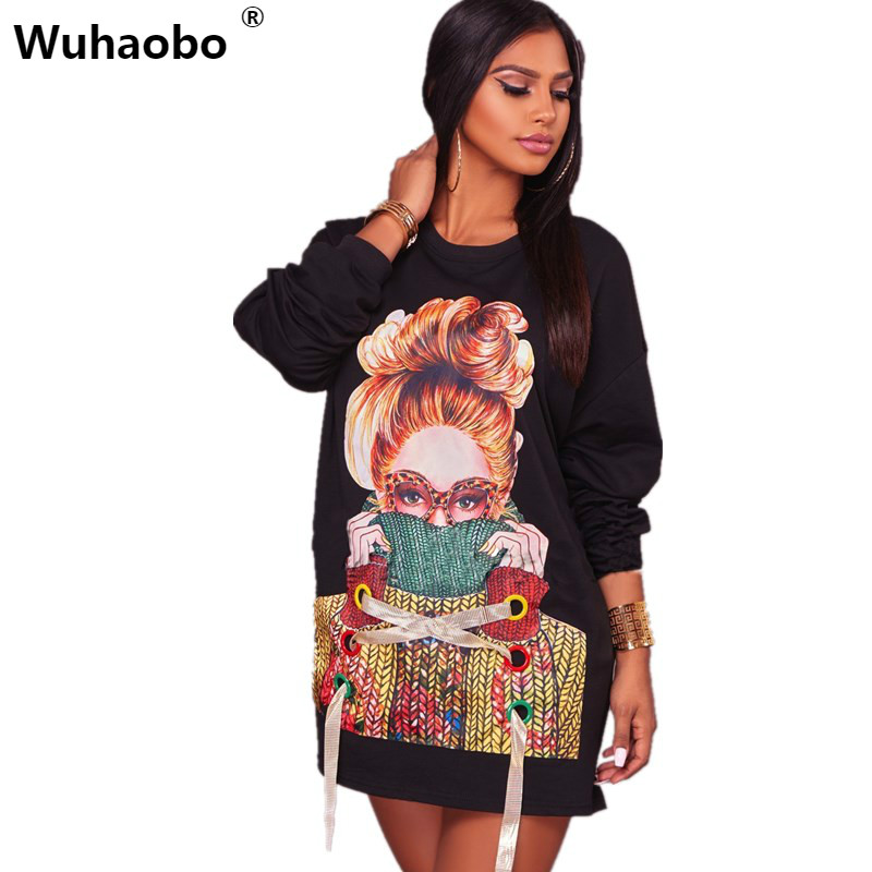 Wuhaobo White Black Autumn Hoodie Women Dress Fashion Casual Loose Modern Girl Character Print Hollow Out Bandage Dresses
