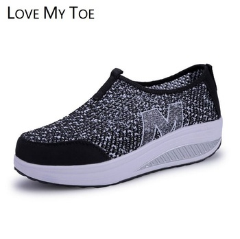 Hollow Mesh 2018 Swing Casual Air Breathable Wedges Sport Chaussure Femme Platform Shoes For Women Zapatos Mujer Ladies Trainers slip-on shoe