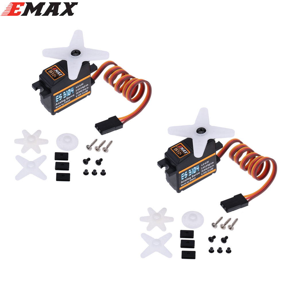 2x EMAX ES3104 Metal Analog Servo with Gears and Parts (ES08A ES08MA ES08MD )
