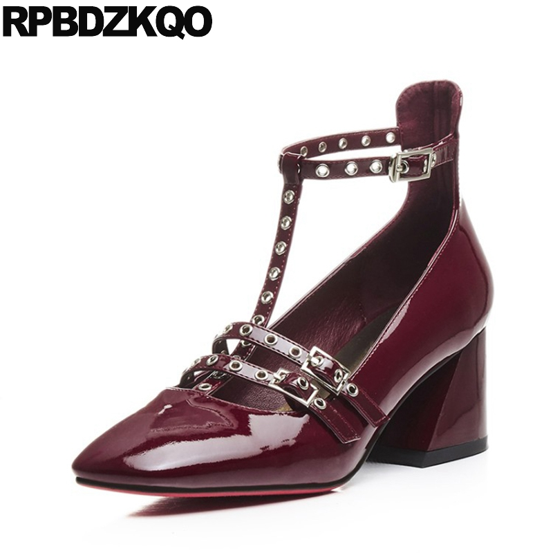 Chunky Pumps Brand Designer Shoes Women Ankle Strap T Bar High Heels Strappy Genuine Leather Patent Square Toe Wine Red Catwalk square heels 7 5 cm sapatos femininos high heels shoes woman round toe patent leather spring pumps t strap comfortable shoes