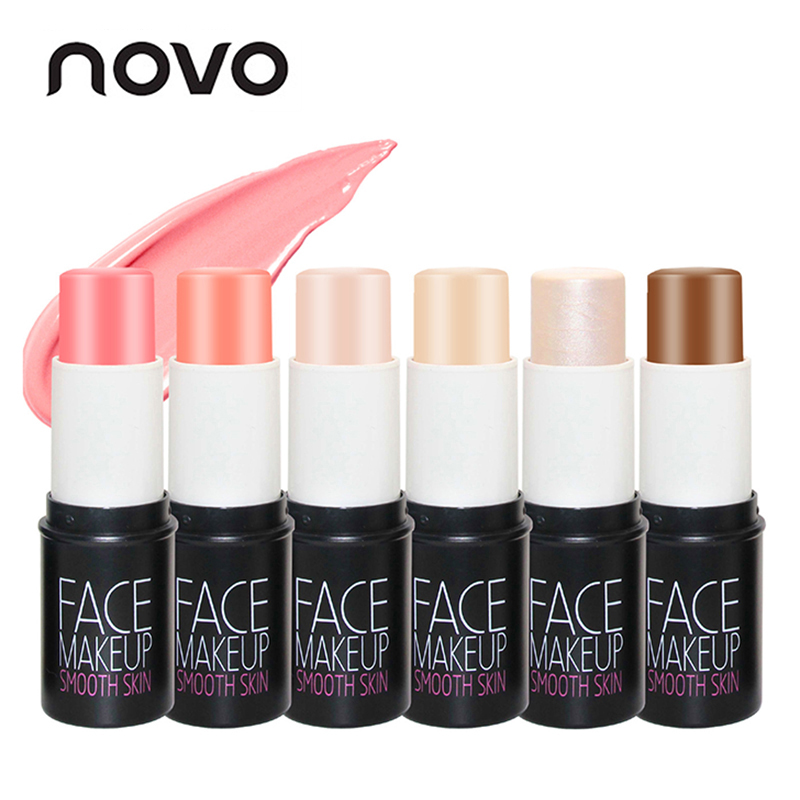 NOVO Brand Face Matte Blush Cream Stick Make Up Bronzer Rouge Cheek Mineral Blusher Set Makeup 2018 new focallure smooth glow cheek color blusher palette natural mineral makeup silky blush bronzer powder