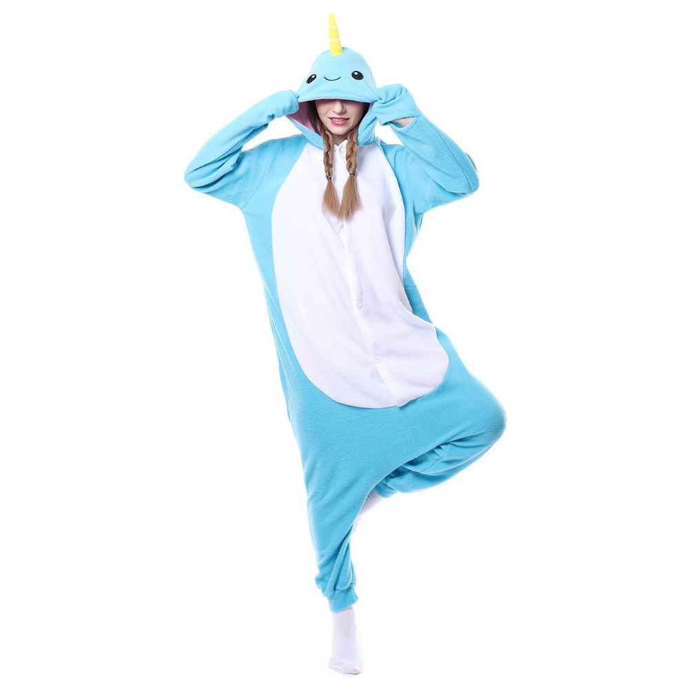 Narwhal Pajama Animal Cartoon Onesie Women Men Adult Whale