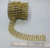 Gold Tone 5 rijen SS20 spark rhinestone trim, 2.5 cm breedte, strass banding, crystal strass ketting voor bruiloft verjaardagstaart decorat