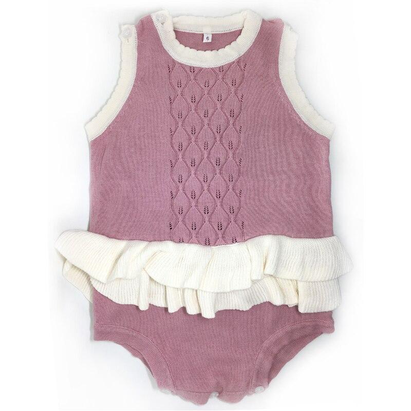 y403 Nová 2017 móda bez rukávů Lotus listová sukně růžová novorozenec Combed bavlněné příze baby girl oblečení kombinéza dětské oblečení