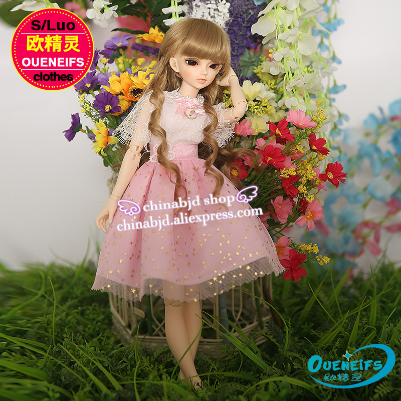 OUENEIFS free shipping girl dress skirt star grenadine 1/4 bjd sd customization Minifee body clothes have not doll or wig YF4-80 handsome grey woolen coat belt for bjd 1 3 sd10 sd13 sd17 uncle ssdf sd luts dod dz as doll clothes cmb107