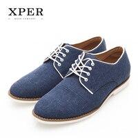 XPER Brand Fashion Men Shoes Summer Autumn Comfortable Low Men Casual Shoes Denim Lace UP Male Breathable Flats Shoes#XHY02735
