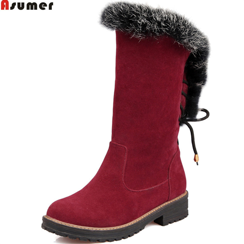 Asumer fashion new arrive women boots round toe flock slip on ladies boots black wine red square heel ankle boots big size 34-43 2018 new women round toe chunky heel ankle boots ankle strip buckle slip on black big size spring autumn dress shoes