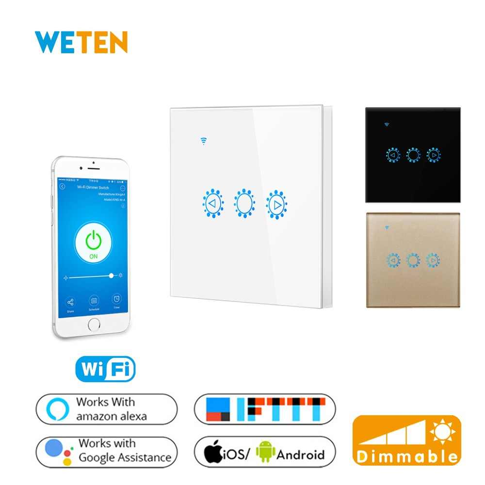 Interruptor táctil de pared de Wifi regulable Panel de vidrio atenuador continuo Ewelink APP compatible Alexa Google Home EU UK interruptor de atenuación LED
