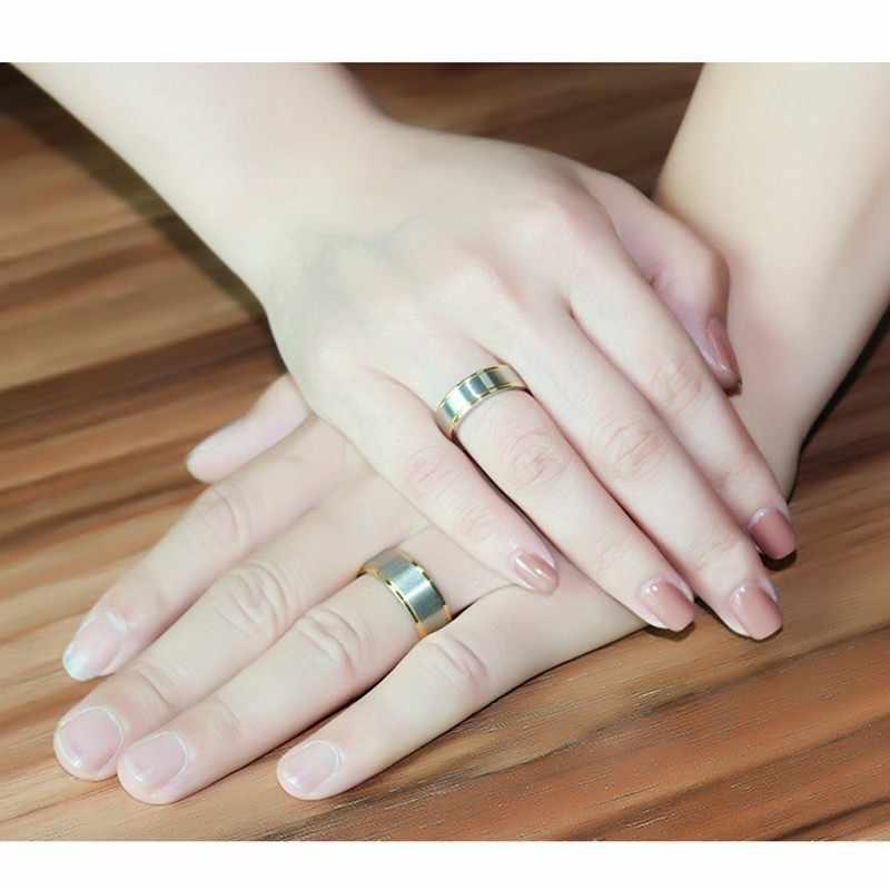 Vnox элегантный Кольца для Для женщин Для мужчин 6 мм/8 мм Обручальные кольца Jewelry Нержавеющая сталь подарок