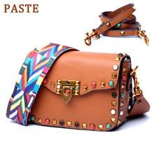 PASTE Brand Rivet Women Crossbody Bag Wide Shoulder Strap Ladies Messenger Bag Soft Cow Real Leather Designer Small Square Bag цена и фото