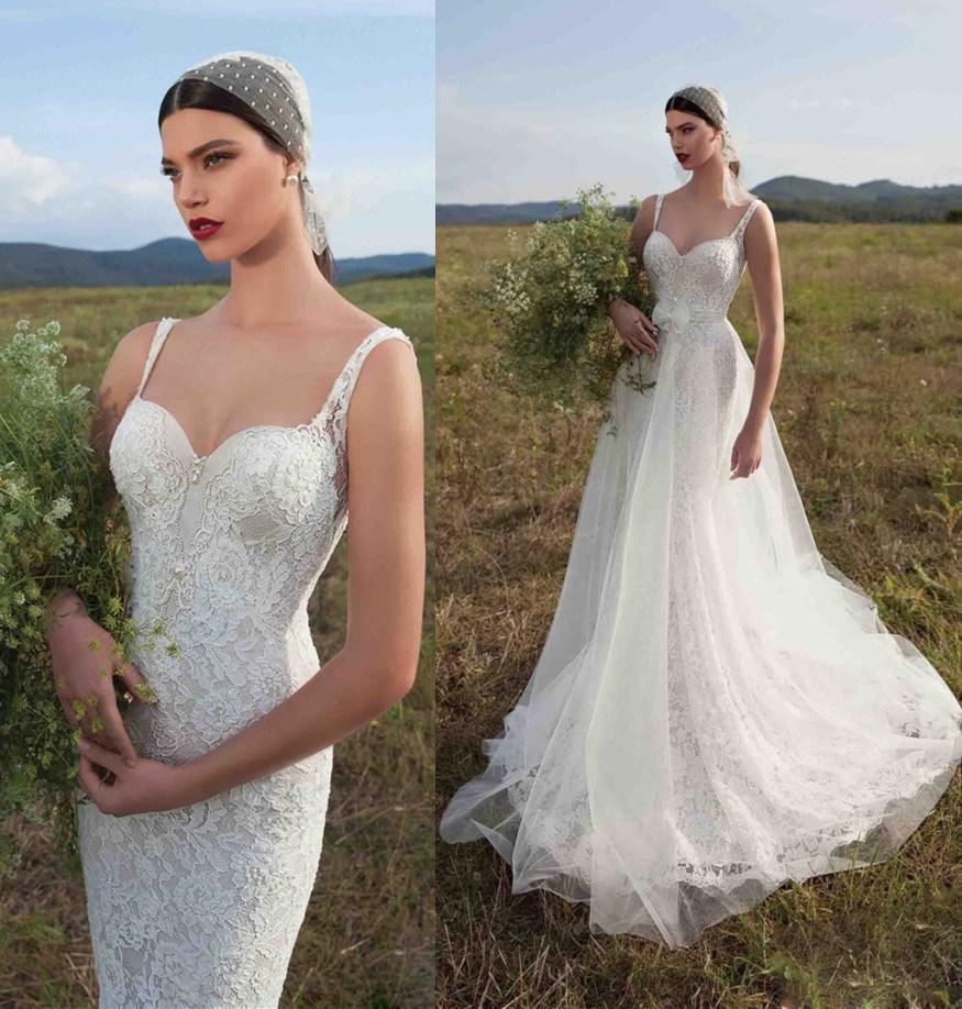 Lace Mermaid Wedding Gown With Tulle Skirt: Convertible Skirt Mermaid Wedding Dresses Spaghetti Strap