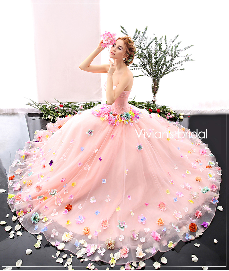 pink flower wedding dress popular wedding dress buy cheap wedding dress 6581