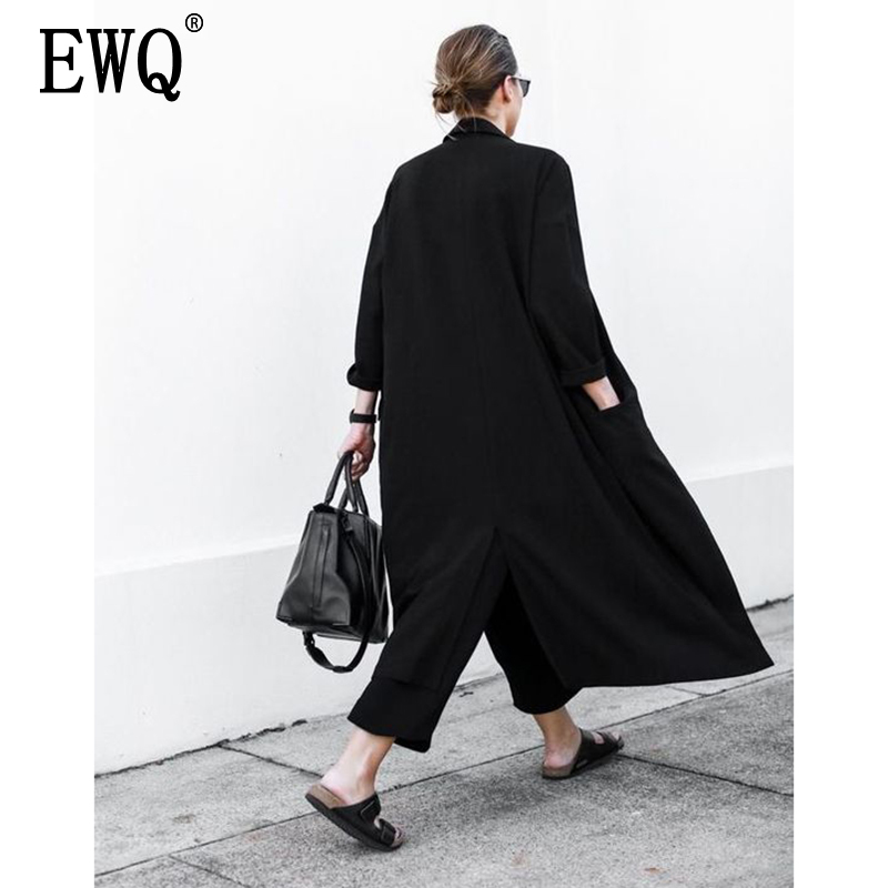[EWQ] Loose Women's Windbreaker 2019 Spring Casual Turn-down Collar Pockets Black thin Coat Jacket Female Outwear U370(China)