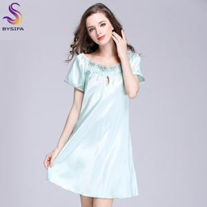 Image 5 - 2020 New Sweet Young Women Silk Nightgown Printed Fashion Knee length Girl Sleepwear Summer Ladies Sleepshirts Pink,Camel,Blue