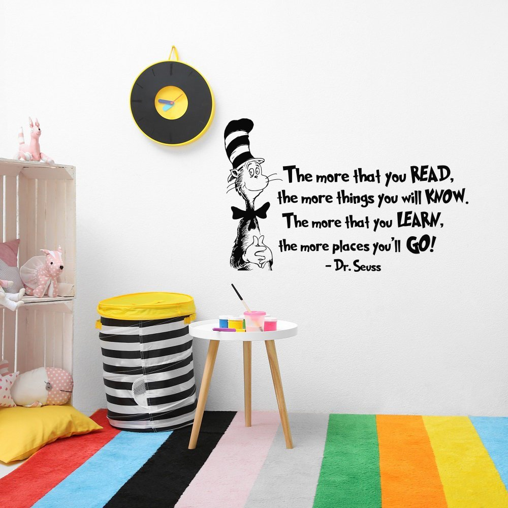 The More That You Read Quote Wall Decal Cat In Hat Nursery Wall Stickers Kids Reading Classroom Literary Decor Quotes Decals A31