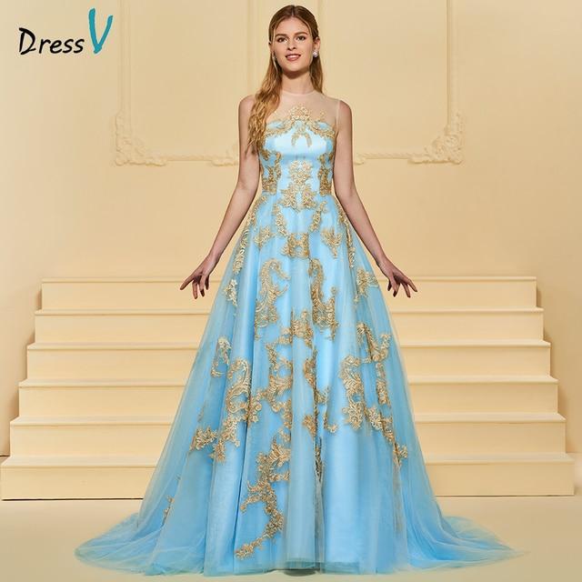 Dressv blue appliques scoop neck wedding dress sleeveless a line ...