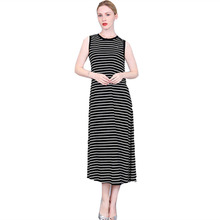 2017 Newest Sleeveless Striped Long Dresses For Women In Large Size Casual Loose O-Neck Dress Clothing White Black Color