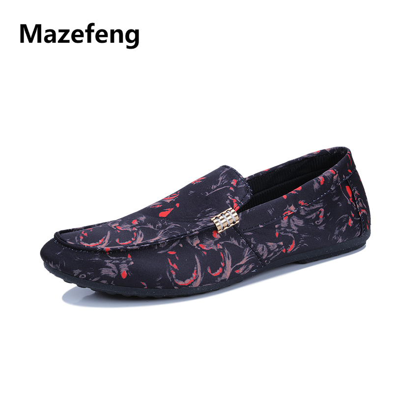 Mazefeng 2018 New Spring Shoes Fashion Print Men Casual Shoes Men Loafers British Style Male Flats Shoes Slip-on Breathable