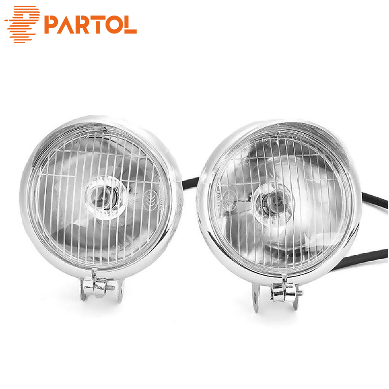 Partol Chrome Universal Motorcycle Headlight Passing Fog Light Lamp Front 12V For Honda Yamaha Kawasaki Suzuki Triump Cafe Racer