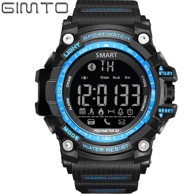 Homens gimto smart watch silicone digital led relógio do esporte dos homens chronograph mergulho à prova d' água relógio de pulso eletrônico para ios android
