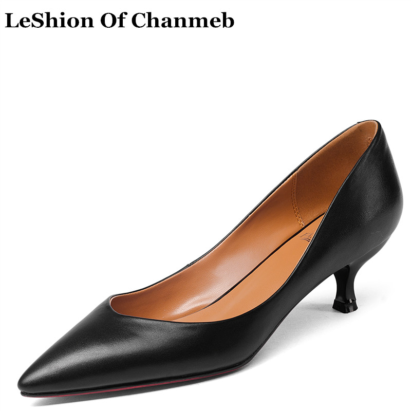 New Arrival 5cm Thin Heels Genuine Leather Big Plus Size 43 Office Ladies Career Pumps Black Shoes Female All Season Work Pumps