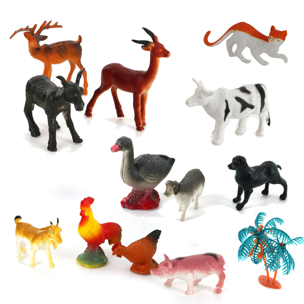 14pcs plastic pvc farm animal duck dog chicken deer pig tree model set kids toy 15pcs multi