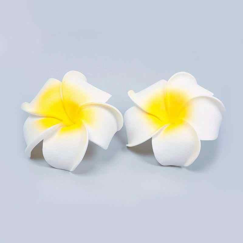 3 יח'\חבילה הוואי קצף פרח לבן Plumeria כלה מסיבת חתונת שיער קליפ גודל 8*8 cm עבור נשים מקרית החוף להתלבש