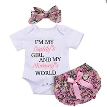 Newborn Baby Girl Clothes Girls Clothing Sets 2019 Fashion Summer Floral Romper with Lace Skirt Headbands