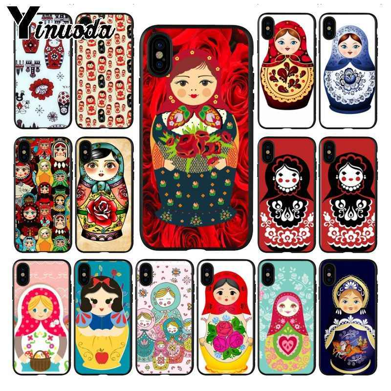 Yinuoda Cute Russian Dolls Pattern Matryoshka Soft Silicone Phone Cover case for iPhone X XS MAX 6 6S 7 7plus 8 8Plus 5 5S XR